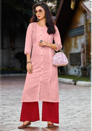 Look Pretty In This Designer Readymade Kurti Set In Pink Colored Kurti Paired With Red Colored Plazzo. It Is Fabricated On Cotton Paired With Rayon Fabricated Plazzo. Both Its Fabrics Are Soft Towards Skin And Easy To Carry All Day Long.