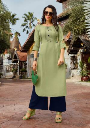 For Your Semi-Casuals, Grab This Pair Of Kurti And Plazzo In Light Green And Navy Blue Color Respectively. It Top IS Cotton Based Paired With Rayon Fabricated Bottom. Buy This Loevly Readymade Set Now.