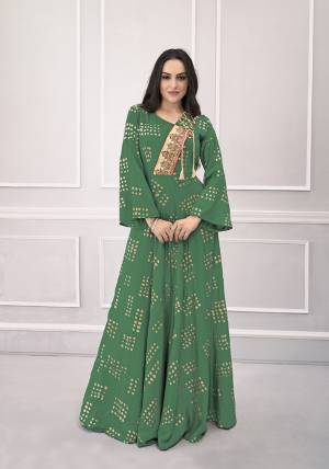 Add This Very Beautiful Designer Readymade Gown In Green Color For The Upcoming Festive Season. This Pretty Gown Is Fabricated On Rayon Which Is Soft Towards Skin And Easy To Carry All Day Long.