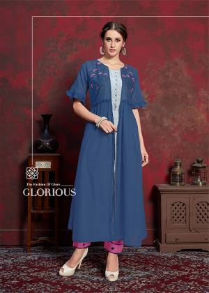 Grab This New And Trending Designer Readymade Kurti In Pale Grey And Blue Which Has Pretty Jacket Pattern. Its Inner Is Fabricated On Rayon Cotton Paired With muslin Fabricated Jacket. Its Jacket IS Beautified With Thread Work Giving It An Attractive Look.