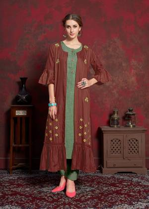 For A Bold And Beautiful Look, Grab This Designer Readymade Kurti With Jacket In, Green Colored Inner Paired With Maroon Colored Embroidered Long Jacket. Its Inner Is Rayon Cotton Based Paired With Muslin Jacket. You Can wear It As Ir And Also Pair Up With Pants Or Leggings.