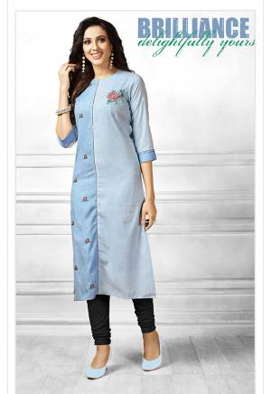 For Casuals Or Semi-Casual Wear, Grab This Designer Readymade Straight Kurti In Shades Of Blue Fabricated On Cotton. It Is Beautified With Contrasting Floral Thread Work Giving It A More Pretty Look. Buy Now.
