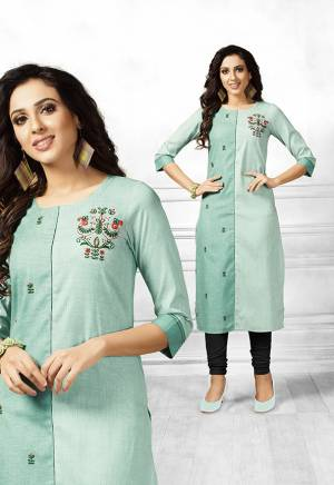 For Casuals Or Semi-Casual Wear, Grab This Designer Readymade Straight Kurti In Shades Of Sea Green Fabricated On Cotton. It Is Beautified With Contrasting Floral Thread Work Giving It A More Pretty Look. Buy Now.