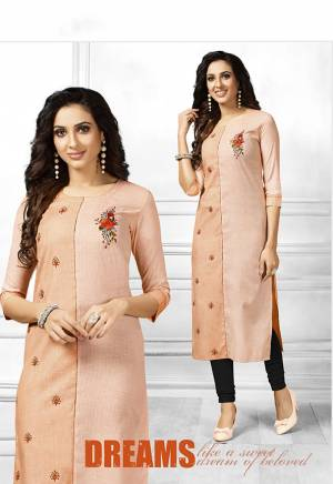 Be It Your College, Home Or Work Place This Kurti Is Suitable For All. Grab This Readymade Straight Kurti In Shades Of Peach Fabricated On Cotton. It Is Beautified With Multi Colored Thread Work Buttis. Its Fabric Is Light Weight And Easy To Carry All Day Long. Buy This Pretty Piece Now.