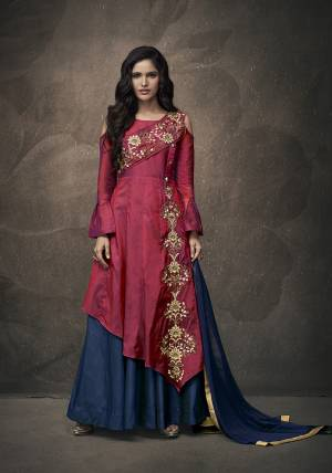 Attract All Wearing This Heavy Designer Indo-Western Readymade Pair In Dark Pink Colored Top Paired With Contrasting Navy Blue Colored Lehenga And Dupatta. Its Top Is Fabricated On Tafeta Art Silk Paired With Santoon Bottom And Chiffon Fabricated Dupatta.