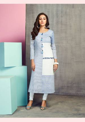 Get This Pretty Readymade Kurti In Blue And White Color Fabricated On Handloom Cotton. This Pretty Kurti Is Beautified With Prints And Thread Work. Also It Is Available In all Regular Sizes.