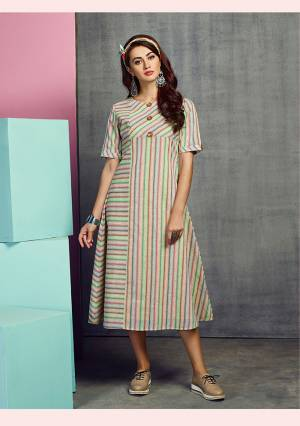 Go Colorful With This Designer Readymade Kurti In Multi Color Fabricated On Handloom Cotton. This Kurti Is Beautified With Lining Prints And Thread Work. It Is Light Weight And Easy To Carry All Day Long.