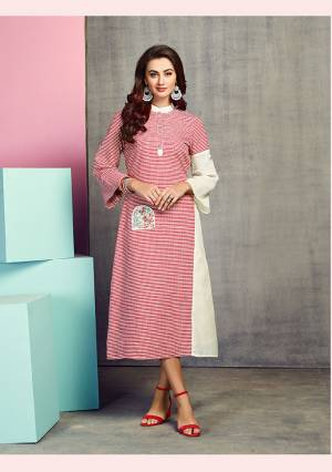 For Your Semi-Casual Wear, Grab This Readymade Kurti In Red And White Color Fabricated On Handloom Cotton. This Kurti Is Beautified With Checks Prints And Thread Work. It Is Light Weight And Easy To Carry All Day Long.