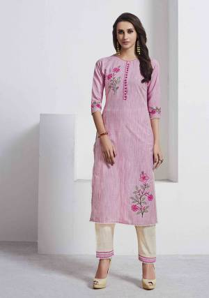 Look Pretty In This Readymade Pair Of Kurti In Pink Color Paired With Off-White Colored Bottom. Both The Top And Bottom are Fabricated On Cotton Which Is Durable And Easy To Care For.