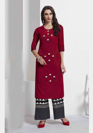For Your Semi-Casual Wear, Grab This Readymade Pair Of Kurti In Maroon Color Paired With Black Colored Bottom. This Pair Is Fabricated On Cotton beautified With Prints And Thread Work. Also It Is Avialable In All Sizes, Choose As Per Your Fit And Comfort.