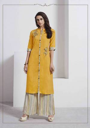Celebrate This Festive Season With Beauty And Comfort Wearing This Readymade Pair Of Kurti And Pant In Musturd Yellow And Multi Color Respectively. This Kurti Is Fabricated On Linen Paired With Rayon Fabricated Bottom,Both The Fabrics Are Soft Towards Skin And Easy To Carry All Day Long.