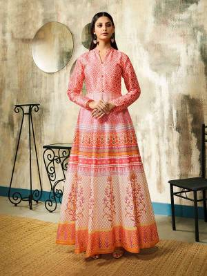 Look Pretty In This Beautiful Designer Readymade Gown In Pink Color Fabricated On Chanderi. This Pretty Gown Is Beautified With Digital Prints All Over And Its Fabric Is Durable And Easy To Care For.