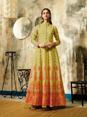 Celebrate This Festive Season With Beauty and Comfort Wearing This Designer Readymade Gown In Pear Green Color Fabricated On Chanderi. This Pretty Gown Has Digital Print All Over And It Is Easy To Carry Throughout The Gala.
