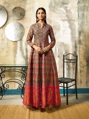Flaunt Your Rich And Elegant Taste In This Designer Readymade Gown In Grey Color Fabricated On Chanderi. It Is Beautified With Digital Print All Over It. Also It Is Light Weight And Easy To Carry All Day Long.