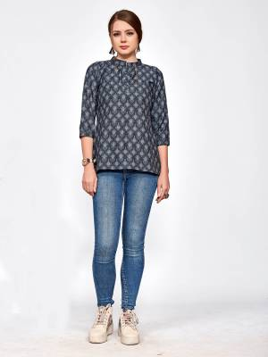 For Your College, Home Or Work Place, Grab This Designer Readymade Top In Black Color Beautified With Small Prints All Over It. It Is Light In Weight And Easy To Carry All Day Long.