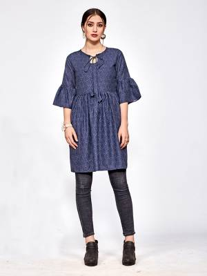 Simple and Elegant Looking Designer Readymade Top Is Here In Navy Blue Color. You Can Pair This Up Black Or Blue Colored Denim Or Pants.