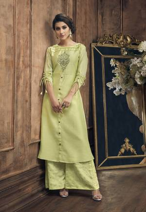 Celebrate This Festive Season With Beauty And Comfort Wearing This Designer Reaydmade Pair Of Kurti And Plazzo In Light Green Color. Its Top Is Beautified With Embroidery And Bottom With Foil Prints. This Pair Is Fabricated On Soft Silk Which Ensures Superb Comfort And Also It Is Durable.