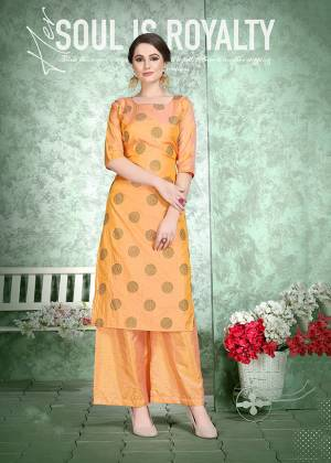 This Festive Season, Celebrate With Comfort and Charming Look By Wearing This Designer Readymade Set Of Kurti And Plazzo In Orange Color. This Pretty Set Is Fabricated On Soft Art Silk Beautified With Foil Print Over The Top. Also It Is Light Weight And Easy To Carry All Day Long.