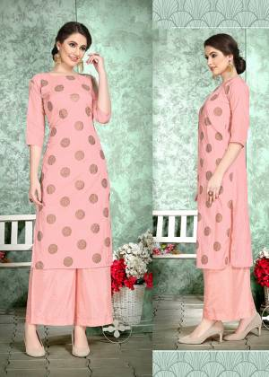 This Festive Season, Celebrate With Comfort and Charming Look By Wearing This Designer Readymade Set Of Kurti And Plazzo In Pink Color. This Pretty Set Is Fabricated On Soft Art Silk Beautified With Foil Print Over The Top. Also It Is Light Weight And Easy To Carry All Day Long.