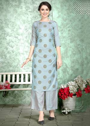 This Festive Season, Celebrate With Comfort and Charming Look By Wearing This Designer Readymade Set Of Kurti And Plazzo In Grey Color. This Pretty Set Is Fabricated On Soft Art Silk Beautified With Foil Print Over The Top. Also It Is Light Weight And Easy To Carry All Day Long.
