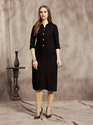 Simple And Elegant Readymade Plain Kurti Is Here In Black Color For Your Casual Wear. This Kurti Is Fabricated On Rayon And Available In All Regular Sizes. It Is Suitable For College Wear, Home Or Work Place.