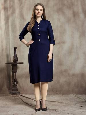 Simple And Elegant Readymade Plain Kurti Is Here In Navy Blue Color For Your Casual Wear. This Kurti Is Fabricated On Rayon And Available In All Regular Sizes. It Is Suitable For College Wear, Home Or Work Place.