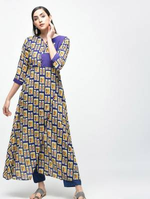 Grab This Readymade Long Kurti In Blue Color Beautified With Prints All Over. This Pretty Kurti Is Cotton Based And Available In All Regular Sizes.