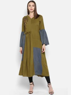 New And Unique Shade Is Here With This Designer Readymade Kurti In Olive Green Color Fabricated On Rayon. This Kurti IS Light Weight And Its Fabric Is Soft Towards Skin Which Ensures Superb Comfort All Day Long.