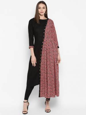 Enhance Your Personality Wearing This Designer Asymmteric Patterned Readymade Kurti In Black And Multi Color. This Kurti Is Cotton Based Beautified With Half Side Prints. Buy Now.
