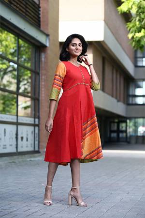 For Your Semi-Casuals, Grab This Readymade Kurti In Tunic Pattern In Red Color. It Is Fabricated On Khadi Cotton And Avialble In All Regular Sizes. Buy Now.