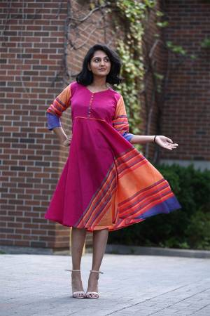 For Your Semi-Casuals, Grab This Readymade Kurti In Tunic Pattern In Dark Pink Color. It Is Fabricated On Khadi Cotton And Avialble In All Regular Sizes. Buy Now.