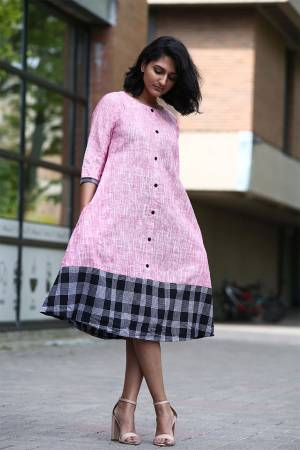 Simple And Elegant Looking Designer Readymade Tunic Is Here In Pink Color Fabricated On Khadi Cotton. Its Fabric IS Light Weight And Available In All Sizes.