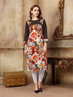 Grab This Pretty Readymade Kurti For Your Casual Wear In Brown and Multi Color Fabricated On Rayon And Crepe. Its Fabrics Are Light Weight And Easy To Carry All Day Long.