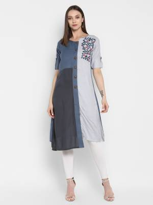 Enhance Your Personality wearing This Elegant Looking Designer Readymade Kurti In Shades Of Grey Which Rayon And Silk Based.
