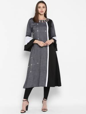 Here Is A Pretty Readymade Kurti To Add Into Your Wardrobe With This Designer Readymade Kurti In Grey Color Fabricated On Khadi Rayon, Buy This Elegant Looking Kurti Now.