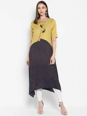 For Your Semi-Casuals, Grab This Readymade Designer Kurti In Yellow And Grey Colo Fabricated On Rayon. It Is Light In Weight And Available In All Sizes. Buy Now.