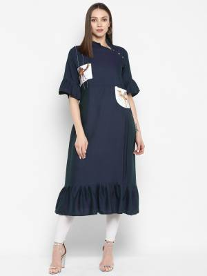 Here Is An Rich And Elegant Looking Designer Readymade Kurti In Navy Blue Color Fabricated On Rayon. It Is Beautified With Printed Patch Work And Frill At The Hem. Buy This Kurti Now.