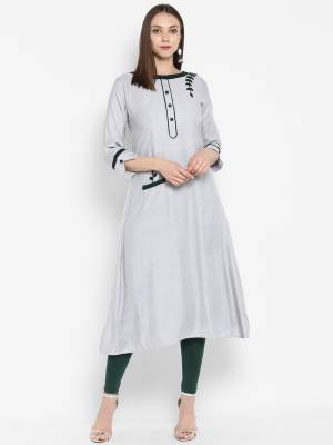 Simple and Elegant Looking Designer Readymade Kurti Is Here In Pale Grey Color Fabricated Rayon. This Pretty Kurti Is Light Weight And Easy To Carry All Day Long.