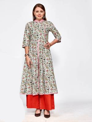 Here Is An All Over Printed Designer Readymade Kurti In Baby Blue Color Fabricated Blended Rayon. It Is Beautified With Small Floral Prints In Multi Color And Available In All Sizes.