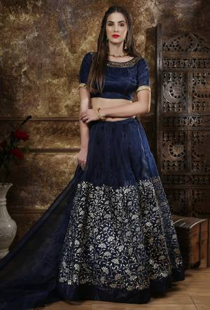Enhance Your Personality Wearing This Bold Colored Designer Lehenga Choli In Navy Blue Color. This Lehenga Choli And Dupatta Are Fabricated On Orgenza Beautified With Foil Print And Hand Work.