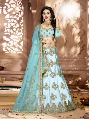Grab This Rich And Elegant Looking Heavy Designer Lehenga Choli In Sky Blue Color. Its Blouse Is fabricated On art Silk Paired With Satin Silk Lehenga And Net Fabricated Dupatta. It Is Beautified With Heavy Jari And Resham Embroidery With Stone Work. Buy This Pretty Piece Now.