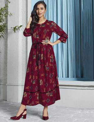 Enhance Your Personality Wearing This Designer Readymade Long Kurti In Maroon Color Fabricated On Rayon. This Pretty Kurti Is Soft Towards Skin And Ensures superb Comfort all Day Long. Buy Now.