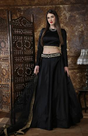For A Bold And Beautiful Look, Grab This Elegant Looking Lehenga Choli In All Over Black. This Lehenga Choli Is Fabricated On Satin Silk Paired With Net Fabricated Dupatta. It Is Light In Weight And Easy To Carry Throughout The Gala.