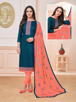 Enhance Your Personality Wearing This Designer Straight Suit In Blue Colored Top Paired With Contrasting Orange Colored Bottom And Dupatta. Its Top Is Silk Based Paired With Cotton Bottom And Chiffon Fabricated Embroidered Dupatta. Buy Now.