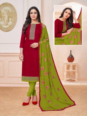 Enhance Your Personality Wearing This Designer Straight Suit In Maroon Colored Top Paired With Contrasting Green Colored Bottom And Dupatta. Its Top Is Silk Based Paired With Cotton Bottom And Chiffon Fabricated Embroidered Dupatta. Buy Now.