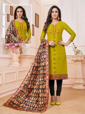 Here Is A Dress Material In Pear Green And Black Color. Its Top Is Fabricated on Art Silk Paired With Cotton Bottom And Soft Silk Fabricated Digital Printed Dupatta. Get This Stitched As Per Your Desired Fit And Comfort.