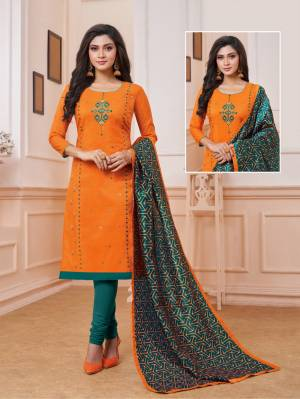 Celebrate This Festive Season With Beauty And Comfort Wearing This Designer Straight Suit In Orange Color Paired With Contrasting Teal Green Colored Bottom And Dupatta. Its Top Is Fabricated On Art Silk Paired With Cotton Bottom And Soft Silk Dupatta.