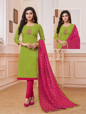 Celebrate This Festive Season With Beauty And Comfort Wearing This Designer Straight Suit In Green Color Paired With Contrasting Rani Pink Colored Bottom And Dupatta. Its Top Is Fabricated On Art Silk Paired With Cotton Bottom And Soft Silk Dupatta.