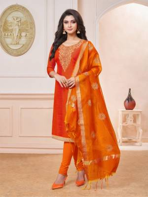 Grab This Pretty Dress Material For Your Semi-Casuals In Shades Of Orange . Its Embroidered Top Is Fabricated On Art Silk Paired With Cotton Bottom And Art Silk Fabricated Embroidered Dupatta. Buy Now