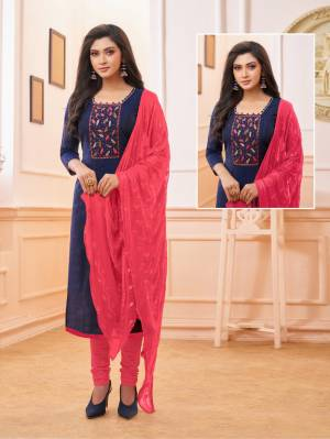 Celebrate This Festive Season With Beauty And Comfort Wearing This Straight Suit In Navy Blue And Dark Pink Color. Its Top And Bottom Are Cotton Based Paired With Chiffon Fabricated Dupatta.